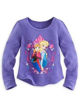 Disney Store Girls Anna & Elsa - Frozen - Long Sleeve Thermal T-Shirt, Purple