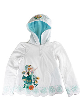 "Disney Store Girls Anna & Elsa - Frozen - ""Snow Cover"" Hoodie, White"