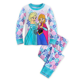 "Disney Store Girls Anna & Elsa - Frozen - ""Winter wear"" PJ Pals Set, Multicolor"