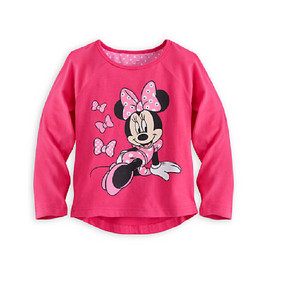 Disney Store Girls Minnie Mouse Polka Party Long Sleeve T-Shirt, Pink
