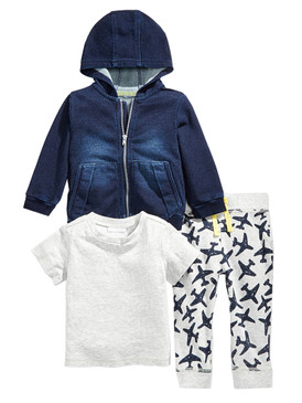 First Impressions Baby Boys 3Pcs Denim Hoodie, T-Shirt & Airplane Pants Set