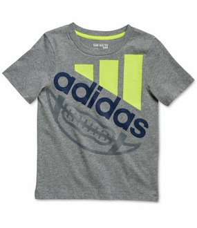Adidas Boys Football Logo Short Sleeve T-Shirt, Dark Gray, Size 4