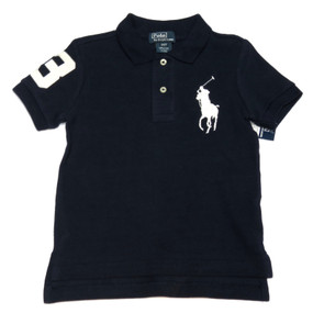 Polo by Ralph Lauren Boys Big Pony Short Sleeve Polo Shirt, Navy Blue, Size 2/2T