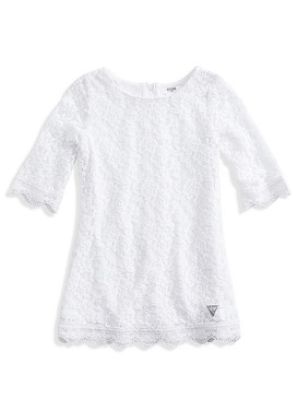 Guess Girls Lace Shift Three-quarter Sleeves Dress - White