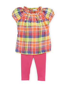 Ralph Lauren Baby Girls 2-Piece Plaid Tunic & Stretch Cotton Leggings Set