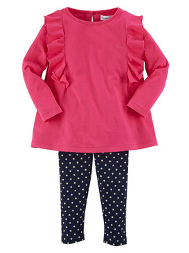Ralph Lauren Baby Girls Long Sleeve Ruffled Top & Legging Set