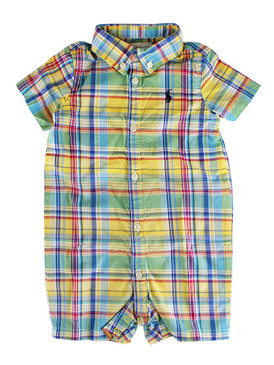 Ralph Lauren Baby Boys Cotton Madras Yellow Plaid Shortall Romper