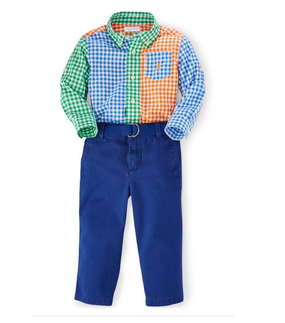 Ralph Lauren Baby Boys Long Sleeve Gingham Shirt & Blue Pant Set