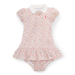 Ralph Lauren Baby Girls Floral Knit Polo Dress & Bloomer