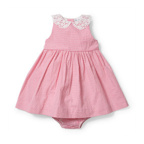Ralph Lauren Baby Girls Seersucker Pleated Dress