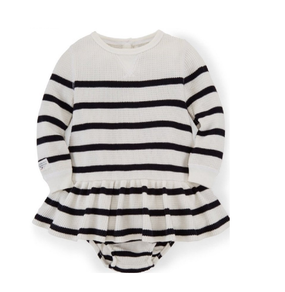 Ralph Lauren Baby Girls Long Sleeve Striped Waffle-Knit Dress & Bloomer