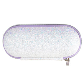 Clinique White Textured Glitter Sonic Brush Cosmetic Makeup Travel Bag w/Lilac Zipper