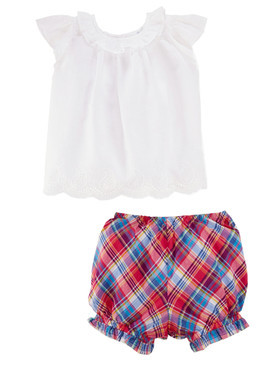 Ralph Lauren Baby Girls Embroidered Top and Plaid Bloomers Set