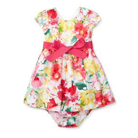 Ralph Lauren Baby Girls Floral Cotton Dress & Bloomer