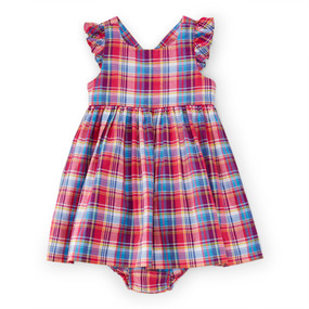 Ralph Lauren Baby Girls Plaid Madras Cotton Dress & Bloomer