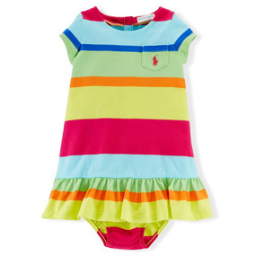 Ralph Lauren Baby Girls Cotton Striped Dress & Bloomer
