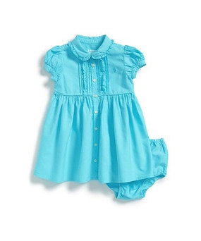 Ralph Lauren Baby Girls Garment-dyed Dress & Bloomer