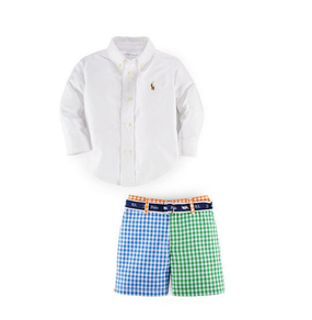 Ralph Lauren Baby Boys Button-Up Oxford Shirt & Colorblocked Shorts Set