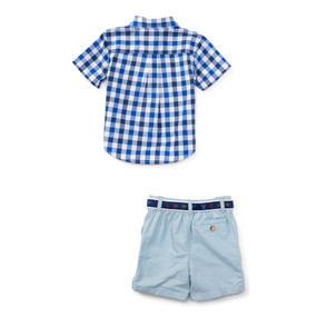 Ralph Lauren Baby Boys Gingham Shirt & Short Set