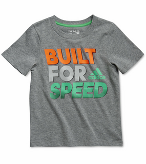 "Adidas Boys ""Built For Speed"" T-Shirt - Dark Grey"