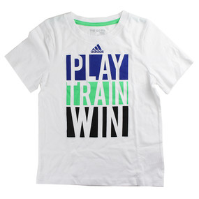 "Adidas Boys ""Play Train Win"" Short Sleeve T-Shirt"