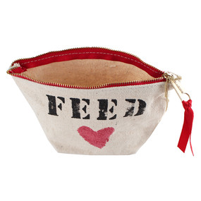 "Clarins ""FEED"" Red Heart Canvas Travel Makeup Cosmetic Bag with Zipper"