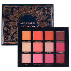 Ace Beaute Scarlet Dusk Eyeshadow 12 Colors Palette, 0.55oz/15.6g