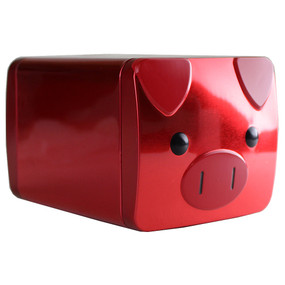 "Benefit You're A Lucky Star Red Metal Tin Piggy Bank - 4"" x 5"""