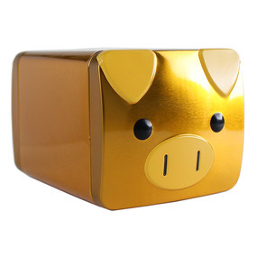 "Benefit Fortune, Fun & Favorites! Gold Metal Tin Piggy Bank - 4"" x 5"""
