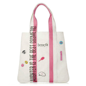 "Benefit ""Laughter is the Best Cosmetic"" Makeup Cosmetics Travel Bag Tote with Pins"
