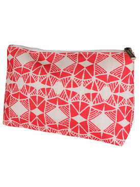 Clinique by Satchel & Sage Pink Print Cosmetic Makeup Travel Bag