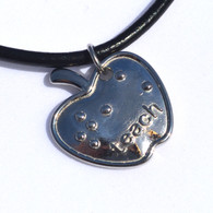 Teach Apple Stainless Steel Pendant in Braille
