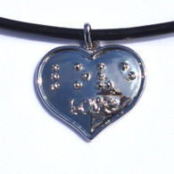 Braille Love Heart Silver plated