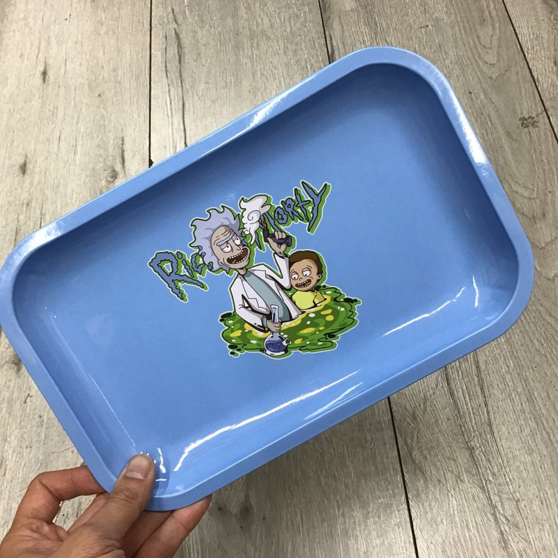 Small Rolling Tray - Rick and Morty Simple Blue Tray