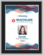 "Healthcare Leadership Award 2019 - Black w/silver trim plaque with our without photo.  Photo will be the same as what appears in the magazine.  If you would like a different photo, please contact Sara Fregapane @ (602) 424-8838.  Dimensions are: 11"" X 15.75"""