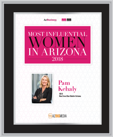"AZ Business / AZRE magazine 2018 Most Influential Women Frame Plaque Style A - Black with Silver Trim (with photo) Size is 11"" x 15.75"""
