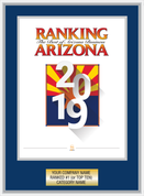 Navy Blue with Silver Trim Style C Ranking Az 2019 Plaque. Cover of Ranking magazine or exact reprint of page.  Plate includes: Company Name, Ranked #1 or Ranked Top Ten and Category.  If customization is preferred on the plate, please include three lines of text in the general instructions/ comment box or contact Sara Fregapane at (602) 277-6045.