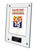 Acrylic Wall Stand-off Style E Ranking Az 2019 Plaque. Cover of Ranking magazine.  Plaque includes: Company Name, Ranked #1 or Ranked Top Ten and Category.  If customization is preferred on the plate, please include three lines of text in the general instructions/ comment box or contact Sara Fregapane at (602) 277-6045.