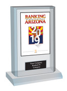 "Acrylic Desk-top Style F Ranking Az 2019 Plaque. Cover of Ranking magazine.  (Plaque Size 6"" X 9"") Plaque includes: Company Name, Ranked #1 or Ranked Top Ten and Category.  If customization is preferred on the plate, please include three lines of text in the general instructions/ comment box or contact Sara Fregapane at (602) 277-6045."