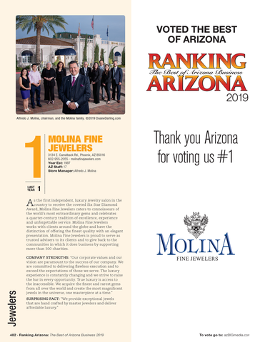 "Cover of Ranking magazine with modified page (2-10 companies will not be listed on the modified page).  Your logo will be on the modified page along with the words ""Thank You Arizona for voting us #1"".  Please email a high resolution of your logo to Sara@azbigmedia.com.  Wording on the modified page can also be customized.  Either contact Sara Fregapane at 602-424-8838 or state what you would like in the general instruction/comment box at check-out.     Pricing: Minimum of 100 must be ordered  100	          $165.00 150	          $177.00 200	          $193.00 250	          $203.00 500	          $260.00 750	          $312.00 1000	  $365.00 1500	  $473.00"