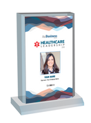 "Healthcare Leadership Awards 2019;  Style C Stand-off Wall  plaque.   Dimensions are: 6"" X 9""  A plaque for Healthcare Leadership Award comes with or without image. The image on this plaque is the same image as in the magazine. If you prefer no image, please indicate same in the Comment Box at sale completion."