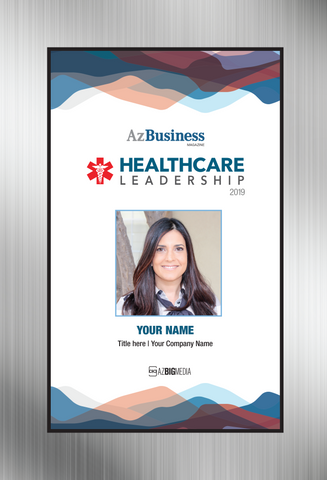 """Healthcare Leadership Awards 2019;  Style D Brushed-silver Stand-off Wall  plaque.   Dimensions are: 6"""" X 9""""  A plaque for Healthcare Leadership Award comes with or without image. The image on this plaque is the same image as in the magazine. If you prefer no image, please indicate same in the Comment Box at sale completion."""