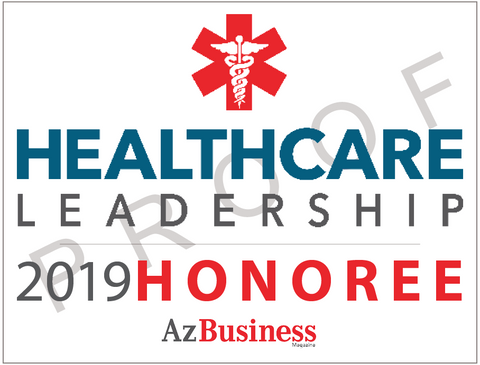 """The 2019 Healthcare Leadership digital emblem is the perfect component to your email signature line, LinkedIn profile and/or your company website.  Emblem comes as seen without the word """"proof""""."""