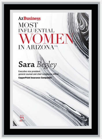"AZ Business magazine 2019 Most Influential Women Frame Plaque Style A - Black with Silver Trim without photo Size is 11"" x 15.75"" Please state the name of Most Influential Women in the Comment Box at check-out"