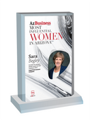 "AZ Business magazine 2019 Most Influential Women Desktop Plaque - Style C with photo Size is 6"" X 9"" Please state the name of Most Influential Women in the Comment Box at check-out"