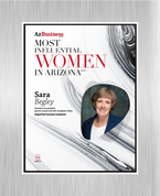 "AZ Business magazine 2018 Most Influential Women Acrylic Brushed Silver Stand-Off Wall Plaque Style D with photo Size is 11"" x 16.5"" Please state the name of Most Influential Women in the Comment Box at check-out"