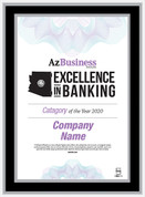 Excellence in Banking 2020 Black wood with silver trim plaque.  Plaque will have bank name or person's name whichever is in the magazine.  If you would like something else on the plaque, please state that in the comment box at check-out.  You may also email Sara.Fregapane@azbigmedia.com or call (602)424-8838.