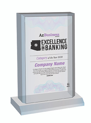 Excellence in Banking 2020 Acrylic Desktop plaque.  Plaque will have bank name or person's name whichever is in the magazine.  If you would like something else on the plaque, please state that in the comment box at check-out.  You may also email Sara.Fregapane@azbigmedia.com or call (602)424-8838.
