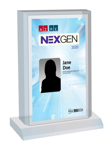 AZRE NexGen 2020 Acrylic Desktop plaque.  If you would like something other than your name and company on the plaque, please state that in the comment box at check-out.  You may also email Sara.Fregapane@azbigmedia.com or call (602)424-8838.