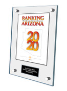Acrylic Wall Stand-off Style E Ranking Az 2020 Plaque. Cover of Ranking magazine.  Plaque includes: Company Name, Ranked #1 or Ranked Top Ten and Category.  If customization is preferred on the plate, please include three lines of text in the general instructions/ comment box or contact Sara Fregapane at (602) 277-6045.